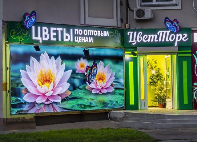 Фасадная световая вывеска для магазина цветов «ЦветТорг», Москва